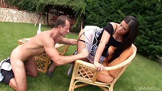 Scalding housemaid Athina Love drops her panties to be fucked