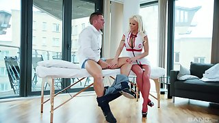 Bobmshell blonde nurse Barbie Sins rides the brush patient's dick on a table