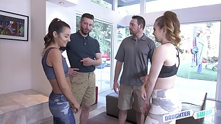 Lily Adams plus her hot girlfriend seduce these lucky dudes