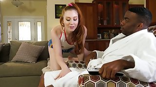 Quite bootyful white gal Arietta Adams goes interracial and rides BBC