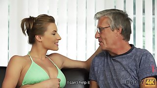 Unerring intimacy of oldman increased by 18yo girl ends with cumshot