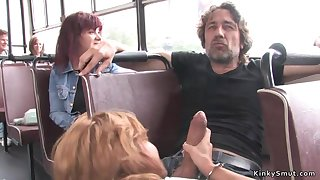 Euro whore fucks huge penis in public bus