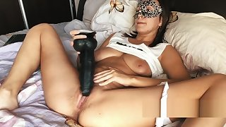 MORNING MASTURBATION - CUTE TEEN Shafting HAIRY PUSSY WITH BBC