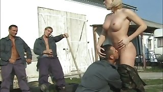 Real dirty slut Laura is ready for some hardcore gangbang outdoors