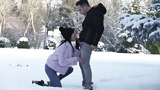 Elegant baby Lexi Layo gives a blowjob outdoor and gets her anus banged indoor