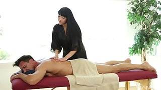 Jayden Lee likes when a dude cum on her tits after sex on the massage desk