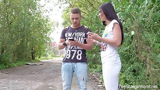Yummy Russian teen Roxy Sky gets her anus stretched on the top of the first date