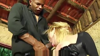 Comme �a shemale in bondage gets forced buy sucking a big