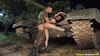 Army man deep fucks Asian bitch and cums on her
