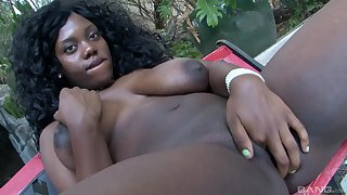 Sexy ebony with large boobs, intriguing finger fucking peerless