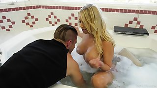 Hot abstinent mammy Katie Morgan seduces young handsome plumber